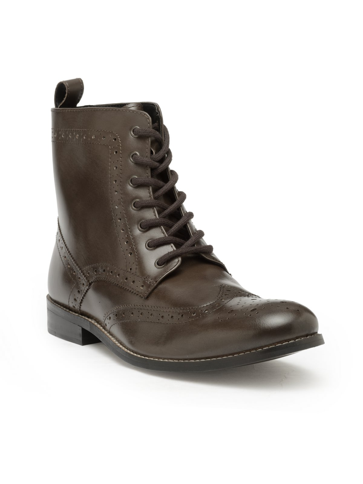 LEATHER HIGH ANKLE LACE UP BOOTS