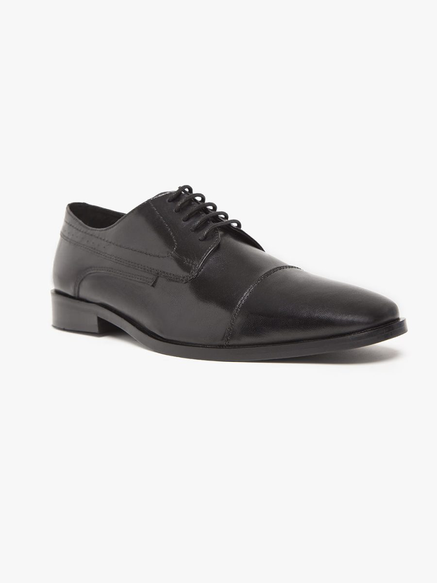 black derby shoes with toe cap