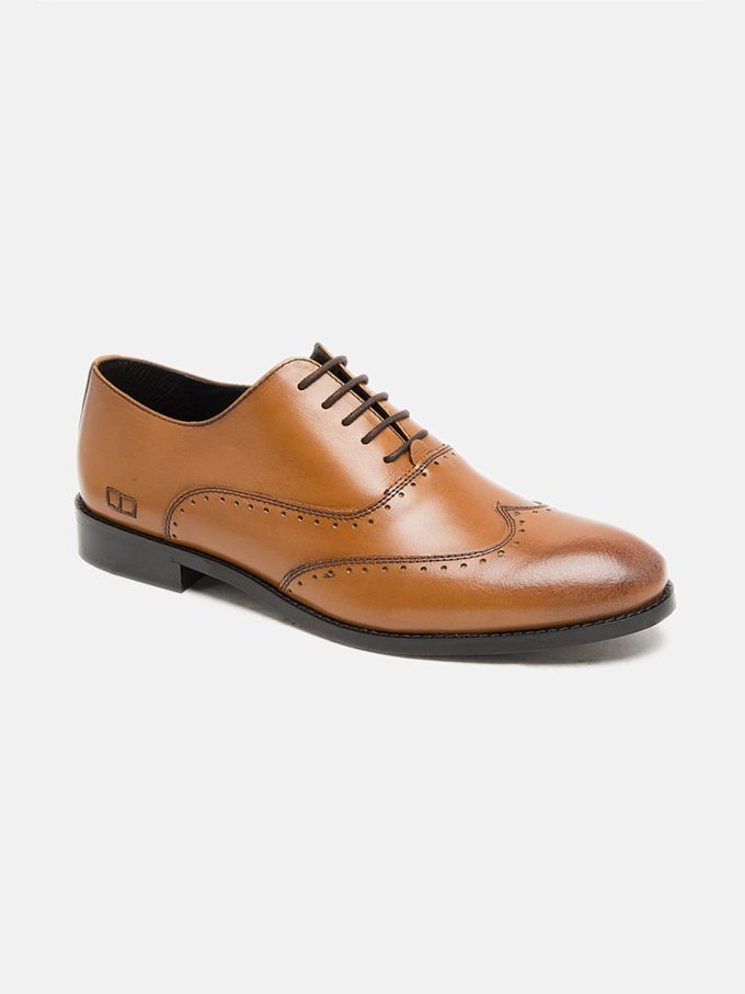 Leather Tan Brogues Shoes