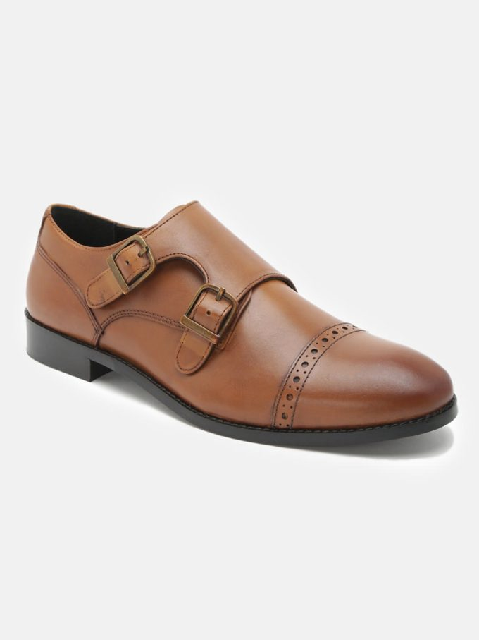 Tan Monk shoes for men