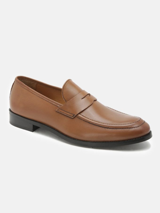 Leather Tan Penny Loafers