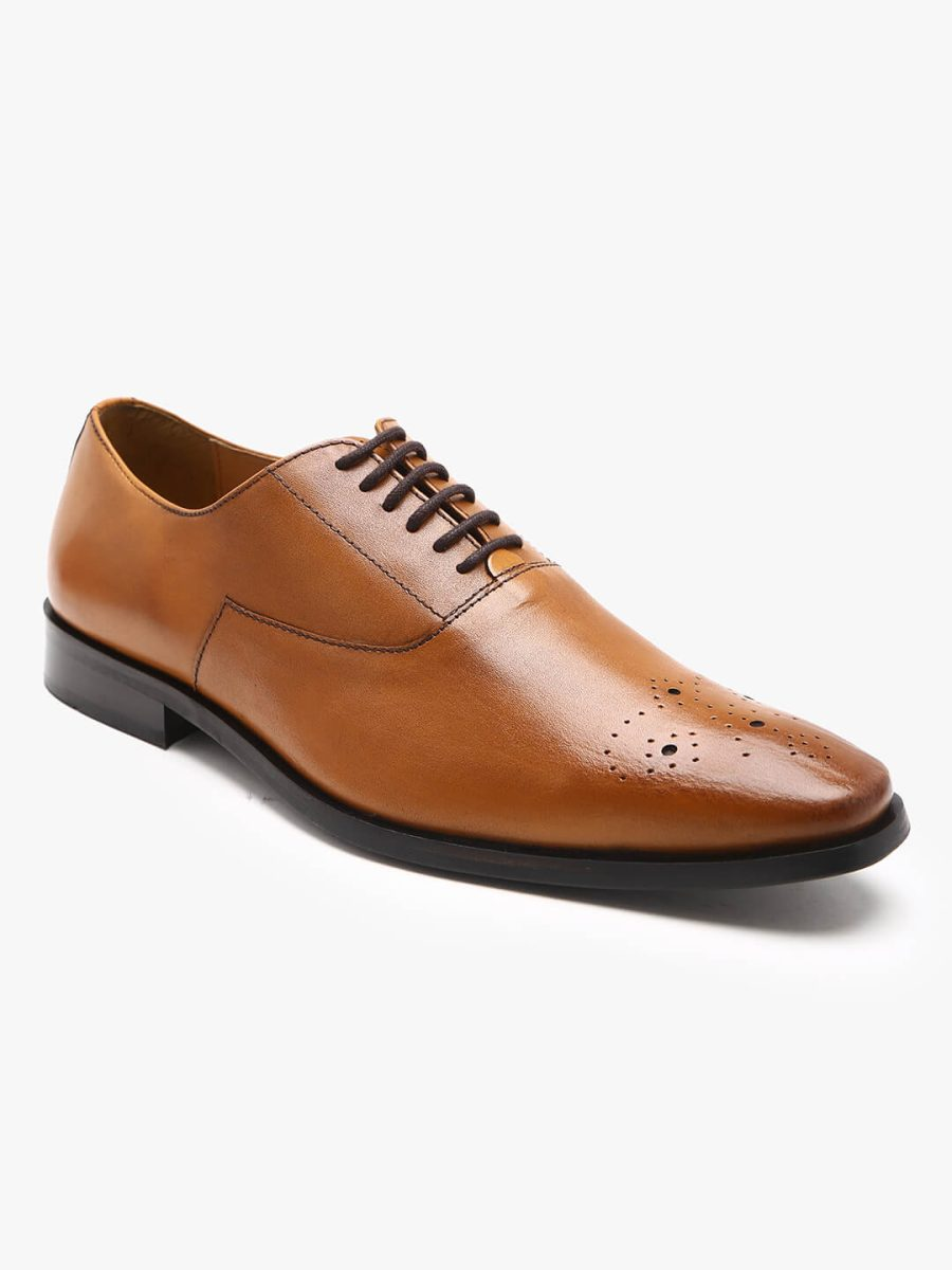 genuine leather tan oxford