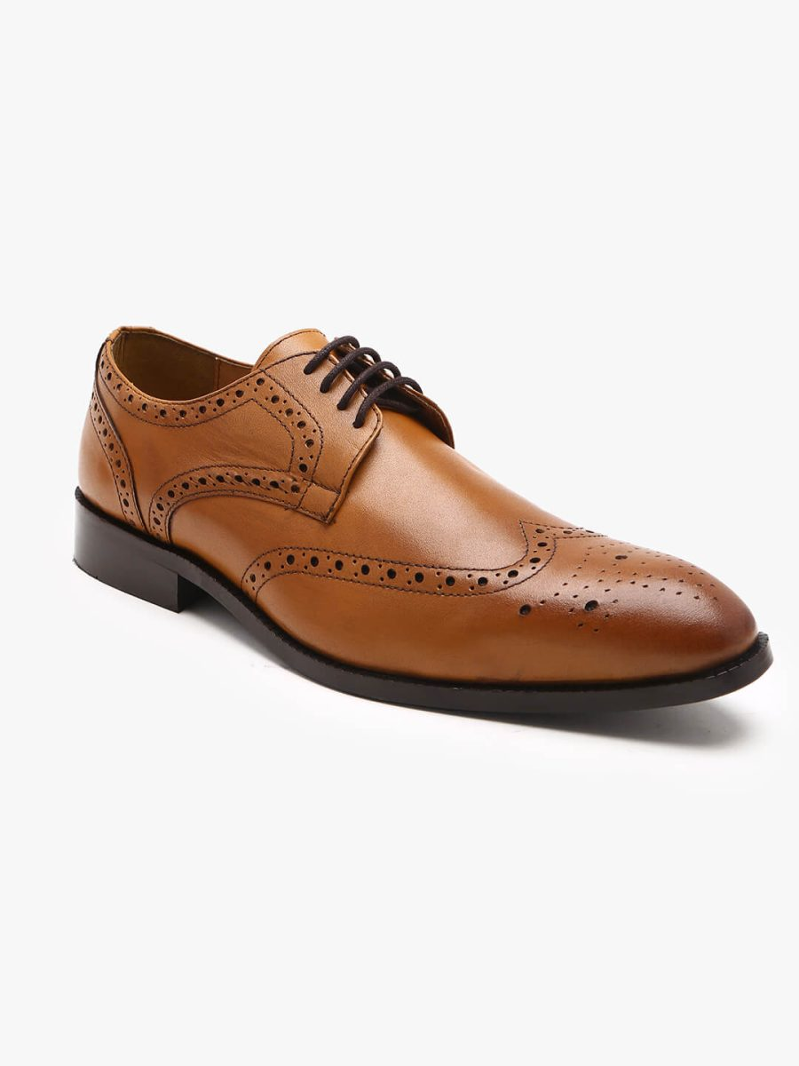 leather tan derby brogues