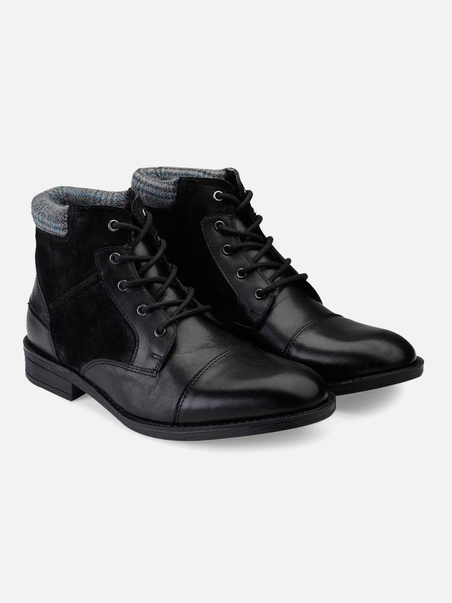 Black leather Toe Cap Ankle Boots