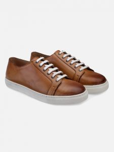 Tan Leather Lace up sneakers