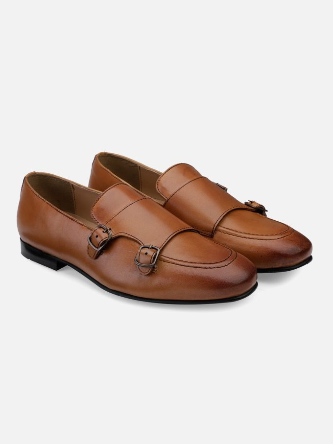 Tan Leather Monk strap Loafers
