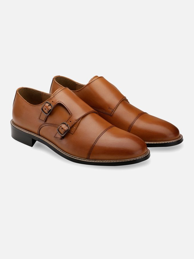 Genuine Leather Double monk strap shoes
