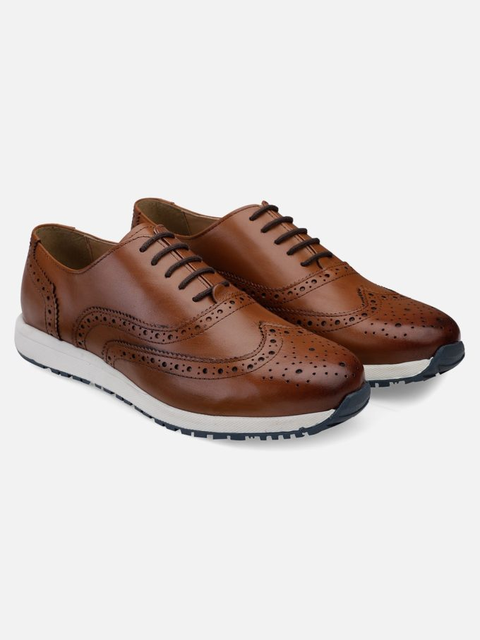 Genuine Leather tan wingtip sneakers