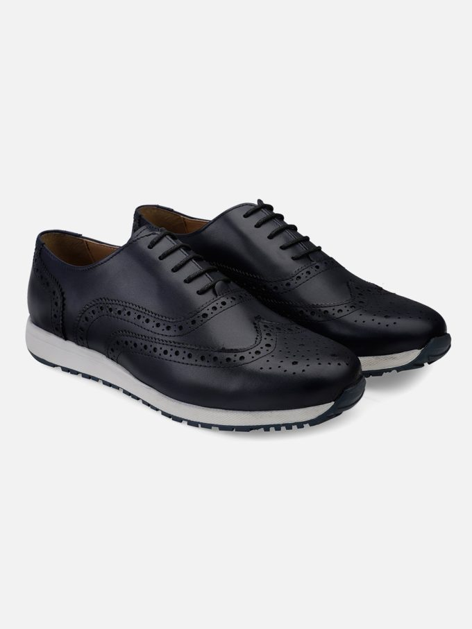 Genuine Leather Navy Wingtip sneakers