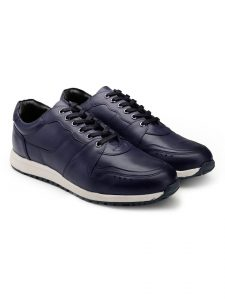 Navy Leather Trainer Sneakers