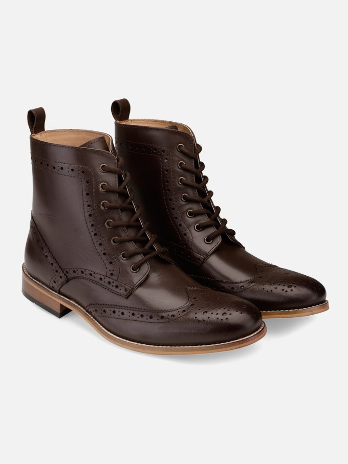 Brown Leather High Ankle Boots