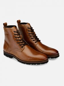 Tan Lace-Up Ankle Boots for men