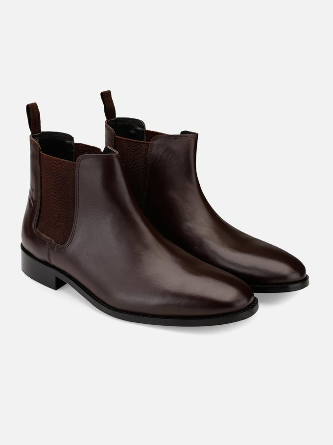 Leather brown burnish Chelsea boots
